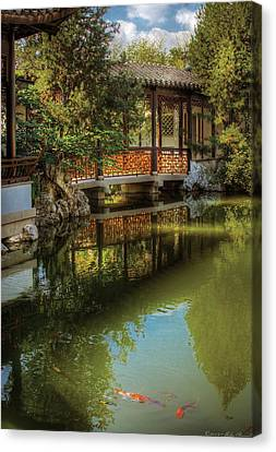 Orient - Bridge - The Chinese Garden Canvas Print by Mike Savad