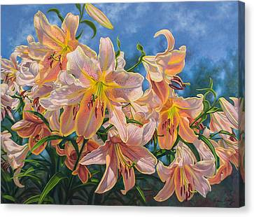 Oriental Lilies 2 Red Hot Canvas Print by Fiona Craig