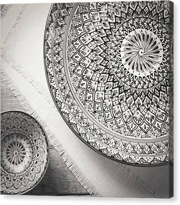 Oriental Plates In Black And White Canvas Print by Ekaterina Molchanova