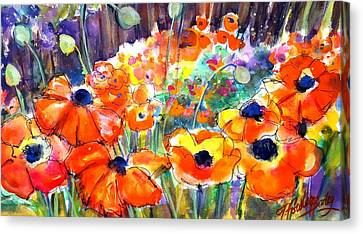 Oriental Poppies Behind Lindas Canvas Print by Therese Fowler-Bailey