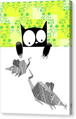 Origami Mice  Canvas Print by Andrew Hitchen