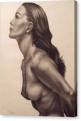 Original Charcoal Nude Female Profile Study Canvas Print by Neal Luea