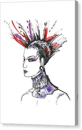 Original Fashion Watercolor Illustration Canvas Print by Marian Voicu