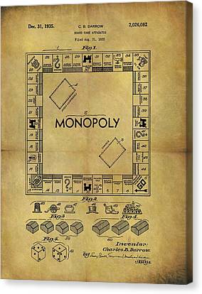 Original Monopoly Board Game Patent Canvas Print by Dan Sproul