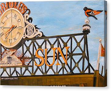 Orioles Scoreboard At Sunset Canvas Print by John Schuller