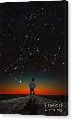 Orion And Stargazer Canvas Print by Larry Landolfi