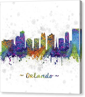 Orlando Florida Skyline Color 03sq Canvas Print by Aged Pixel
