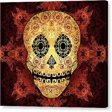 Ornate Floral Sugar Skull Canvas Print by Tammy Wetzel