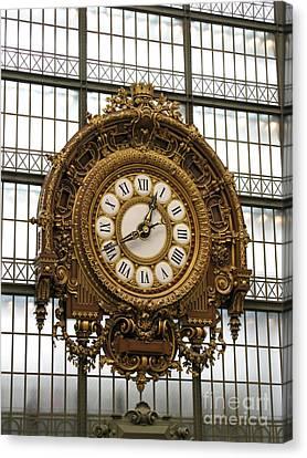 Ornate Orsay Clock Canvas Print by Ann Horn