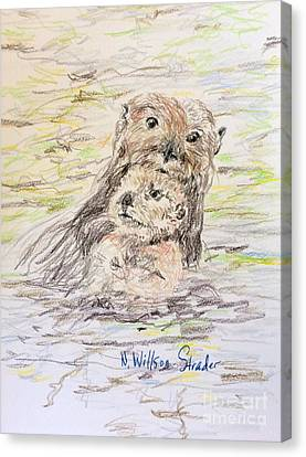 Otter And Baby Canvas Print by N Willson-Strader