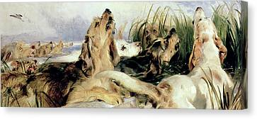 Otter Hounds Canvas Print by Sir Edwin Landseer