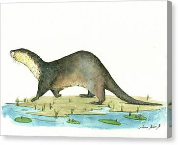 Otter Canvas Print by Juan Bosco