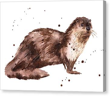 Otter Painting Canvas Print by Alison Fennell