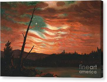 Our Banner In The Sky Canvas Print by Frederic Edwin Church