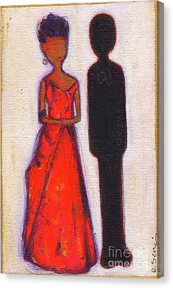 Our First Lady In Red Her Husband Is Black Canvas Print by Ricky Sencion