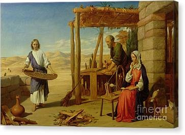 Our Saviour Subject To His Parents At Nazareth Canvas Print by John Rogers Herbert