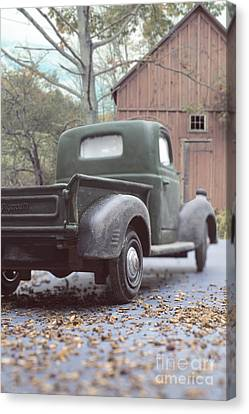 Out By The Barn Old Plymouth Truck Canvas Print by Edward Fielding