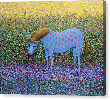 Out Of The Pasture Canvas Print by James W Johnson