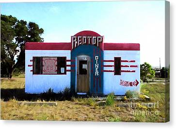 Out To Lunch On Route 66 Canvas Print by Mel Steinhauer