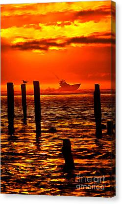 Out To Sea At Sunrise - Outer Banks  Ap Canvas Print by Dan Carmichael