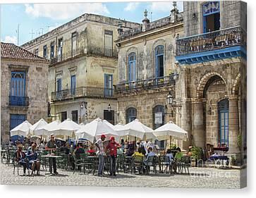 Outdoor Restaurant In Cuba Canvas Print by Patricia Hofmeester