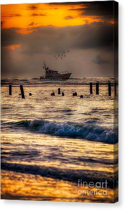 Outer Banks Fishing Boat At Sunrise Canvas Print by Dan Carmichael