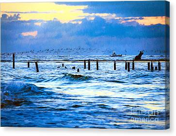 Outer Banks Fishing Boats And Birds Ap Canvas Print by Dan Carmichael