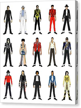 Outfits Of Michael Jackson Canvas Print by Notsniw Art
