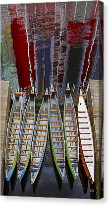 Outrigger Canoe Boats And Water Reflection Canvas Print by Ben and Raisa Gertsberg
