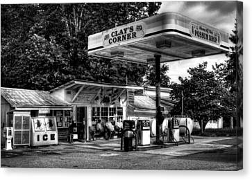 Outside At Clays Corner In Black And White Canvas Print by Greg Mimbs
