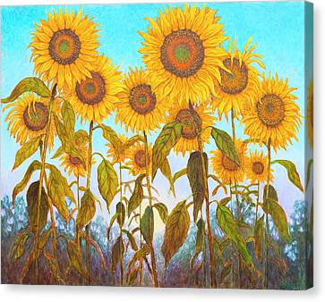 Ovation Sunflowers Canvas Print by Wiley Purkey