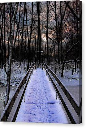 Over The Frozen River Canvas Print by Scott Hovind