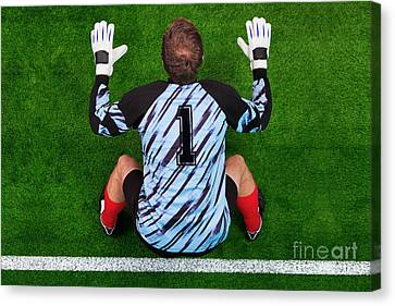 Overhead Shot Of A Goalkeeper On The Goal Line Canvas Print by Richard Thomas