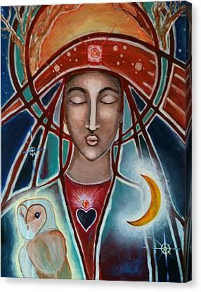 Owl And Goddess Canvas Print by Lakshmi Light