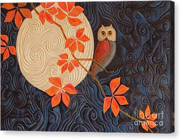 Owl And Moon On A Quilt Canvas Print by Nancy Lee Moran