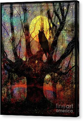 Owl And Willow Tree Canvas Print by Mimulux patricia no
