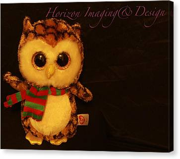 Owl In The Darkness Canvas Print by John Strapp