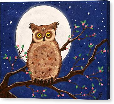 Owl In The Night Canvas Print by Nina Bradica