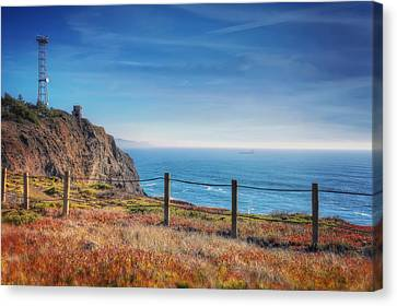 Pacific Ocean View Towards Point Bonita Lighthouse - Marin Headlands  Canvas Print by Jennifer Rondinelli Reilly