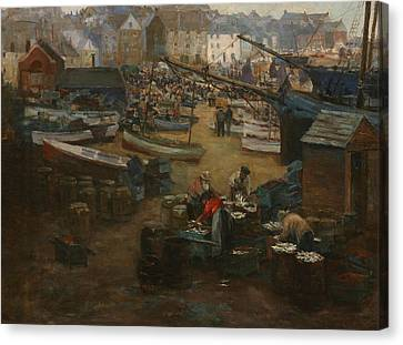 Packing Fish   St Ives Canvas Print by Gwendoline Margaret Hopton