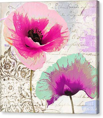 Paint And Poppies II Canvas Print by Mindy Sommers