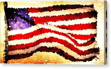 Painted American Flag Canvas Print by Andrea Barbieri