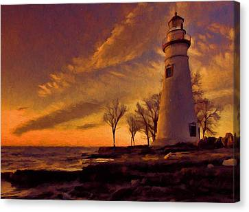 Painted Marblehead Lighthouse Canvas Print by Dan Sproul