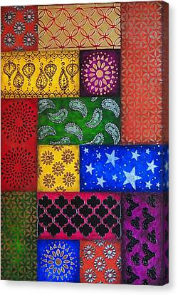 Painted Quilt, Part Canvas Print by Amy Wons