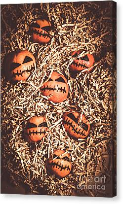 painted tangerines for Halloween Canvas Print by Jorgo Photography - Wall Art Gallery