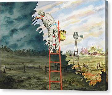 Paintin Up A Storm Canvas Print by Sam Sidders