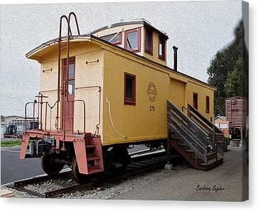 Painting Oceano Depot Museum Caboose  Canvas Print by Barbara Snyder