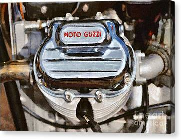 Painting Of A 1972 Moto Guzzi V7 Cylinder Head Canvas Print by George Atsametakis