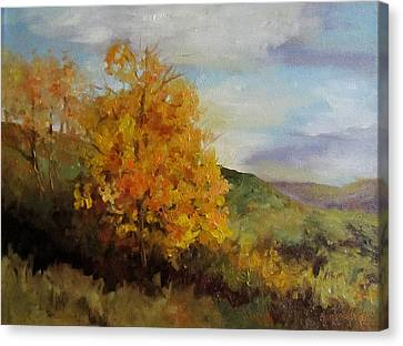 Painting Of A Golden Tree Canvas Print by Cheri Wollenberg