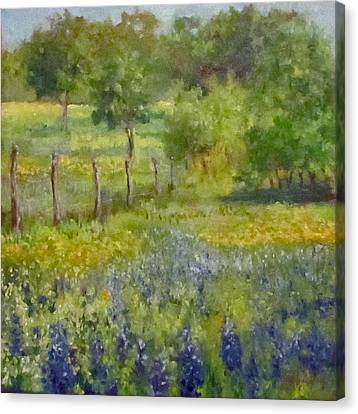 Painting Of Texas Bluebonnets Canvas Print by Cheri Wollenberg